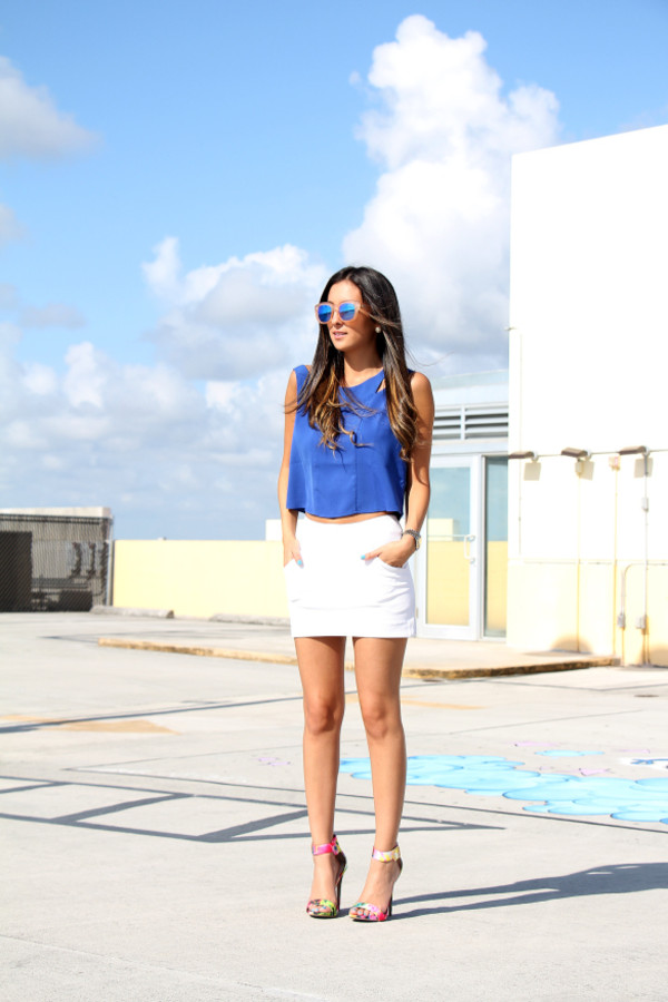 the material girl top skirt sunglasses shoes
