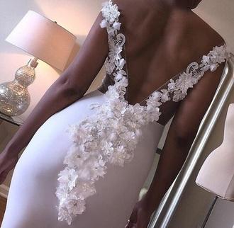 dress open back weeding dress white lace