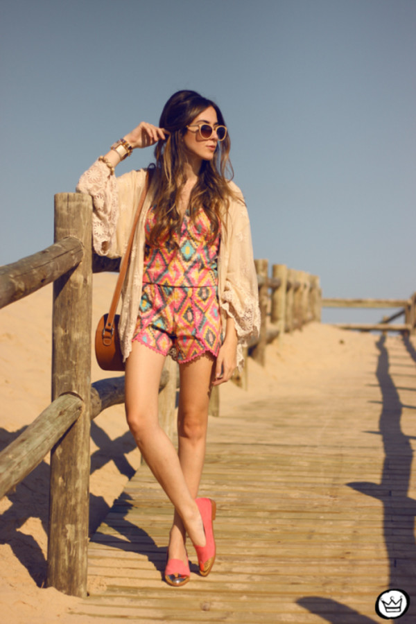 fashion coolture blogger romper bag sunglasses shoes