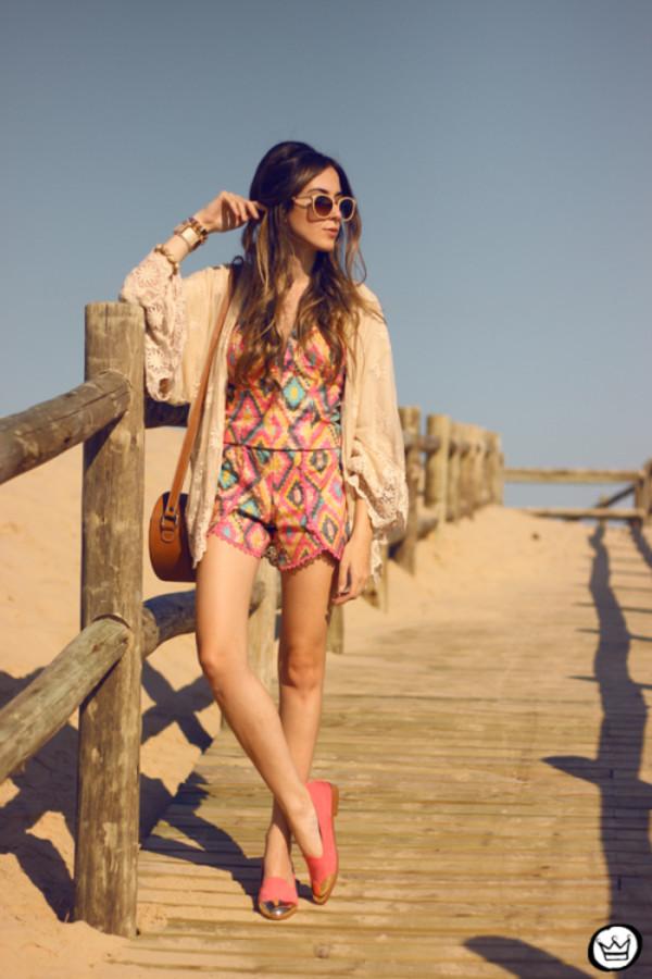 fashion coolture blogger romper bag sunglasses shoes
