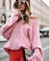 sweater,sunglasses,cat eye,tumblr,pink sweater,oversized sweater,oversized