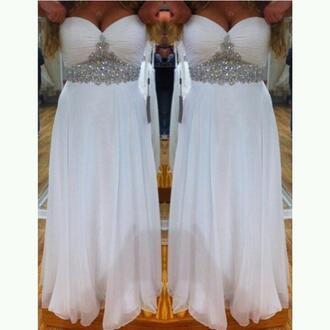 beaded rhinestone white dress long prom dress glitter prom dress