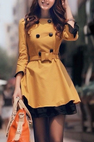 yellow trench coat cute mustard