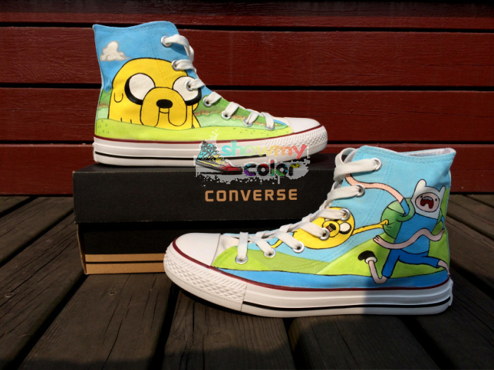 Adventure Time Converse Finn Jack Canvas Sneaker Hand Painted High Top Shoes for Kids/Adult-in Women's Fashion Sneakers from Shoes on Aliexpress.com