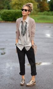 shoes,white shirt,black pants,blogger,statement necklace,sunglasses,beige cardigan,gold oxford shoes