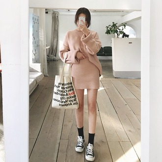 skirt tumblr pink skirt mini skirt knitted skirt knitwear sweater pink sweater socks sneakers black sneakers black converse converse tote bag bag quote on it