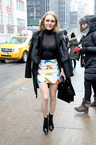 top skirt annasophia robb ankle boots mini skirt fall outfits coat streetstyle fashion week 2016