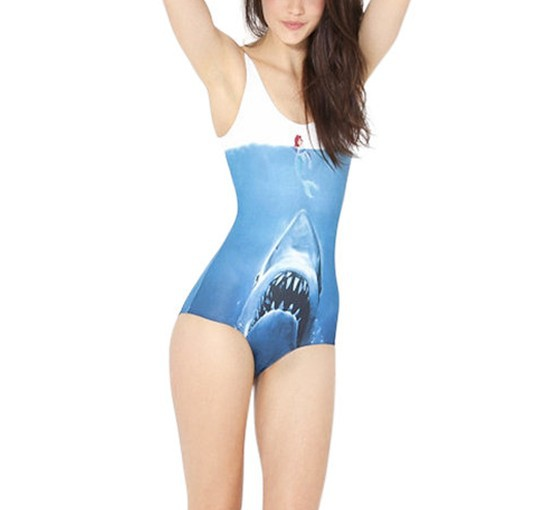 Supernova Sale Womens European Skinny SHARK VS MERMAID SWIMSUIT One Piece Digital Print Backless Wetsuit Free Shipping S125 24-in One Pieces from Apparel & Accessories on Aliexpress.com