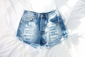 shorts ripped shorts denim ripped high waisted shorts blue short