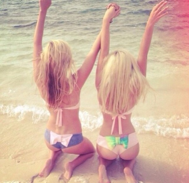 swimwear ribbon cute bikini pink beach bow summer