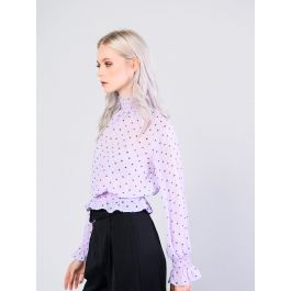 Lilac Green Spot High Neck Shirred Blouse