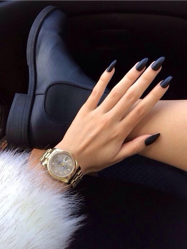 shoes, black, edgy, jacket, nail accessories, nail polish, allday ...