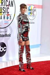 shoes,American Music Awards,metallic,mini dress,taylor swift
