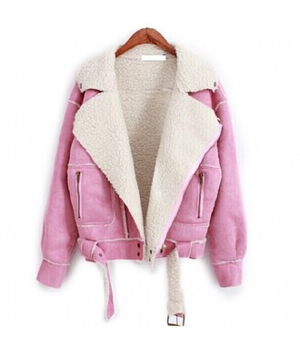jacket coat wool pink pink jacket winter jacket pastel pastel pink girly suede jacket leather jacket leather warm cozy winter outfits wool jacket denim it girl shop pastel grunge 90s style soft grunge