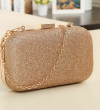 bag clutch glitter gold champagne gold handbag prom evening bag chain clutch chain band jewels