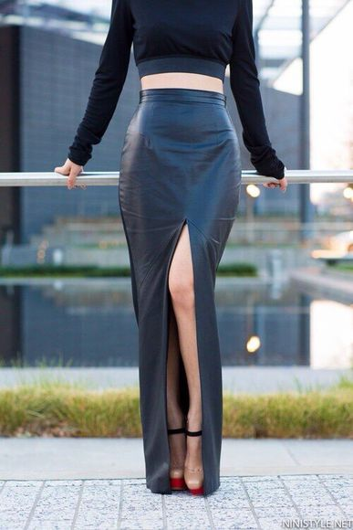 skirt blouse tank top long skirt slit skirt black leather skirt