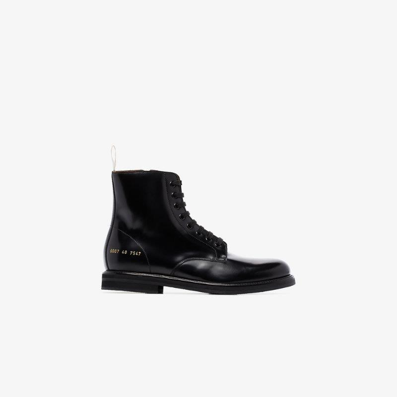Common Projects Black Combat Leather Ankle Boots