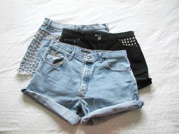 shorts High waisted shorts retro three denim high waisted denim shorts blue studs hipster High waisted shorts