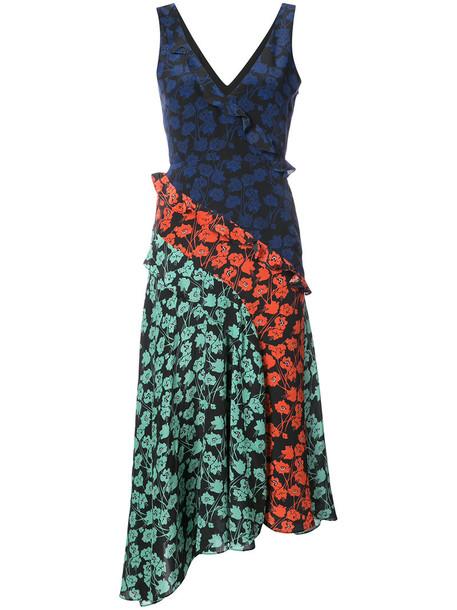 dress midi dress women midi floral blue silk