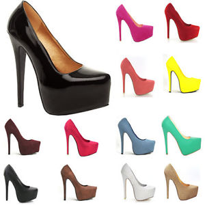 Newly ladies womens party platform pumps high heels stiletto court wedding shoes