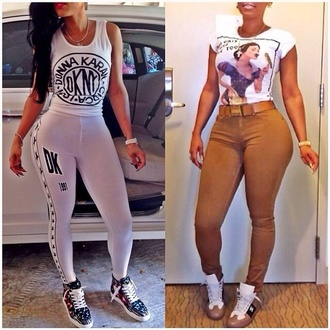 pants keyshia kaoir dkny snow white shoes t-shirt jewels belt red lime sunday