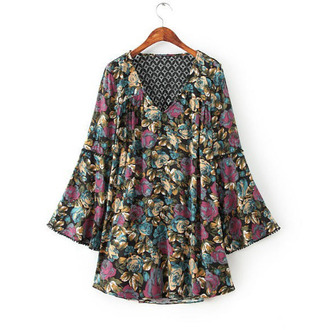 backless dress cut-out dress floral dress bohemian dress