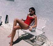 swimwear,one piece swimsuit,kaia gerber,summer,sunglasses,red,model,miu miu