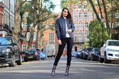 peexo,blogger,jacket,jeans,shoes,bomber jacket,blue jacket,ankle boots,printed boots,black jeans