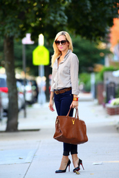 brooklyn blonde,jeans,belt,shoes,bag,sunglasses,jewels,office outfits,shirt,ysl bag,ysl,brown bag,pumps,louboutin,black pumps,blue jeans,brown belt,checkered,checkered shirt