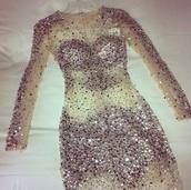 dress,nude,sheer,diamonds,rhinestones,see through,party dress,rhinestones dress,prom dress,prom,sequin dress,short dress,2015 prom dress,long sleeve dress