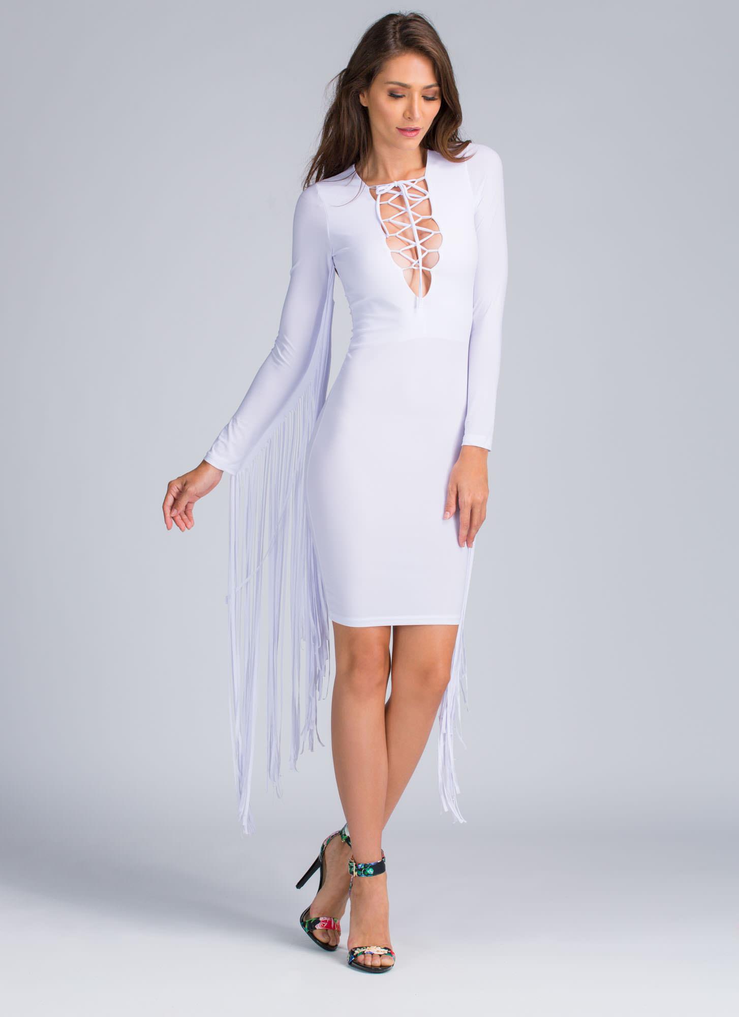 Rock Lace-Up Fringe Midi Dress WHITE BLACK - GoJane.com