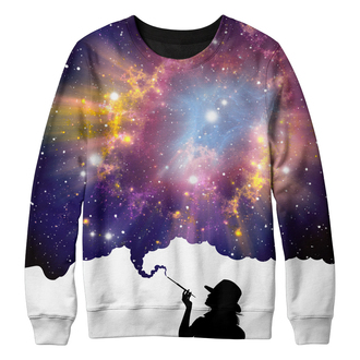sweater smoking lady sky galaxy print stars space