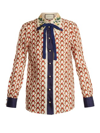 blouse bow embellished print silk white top
