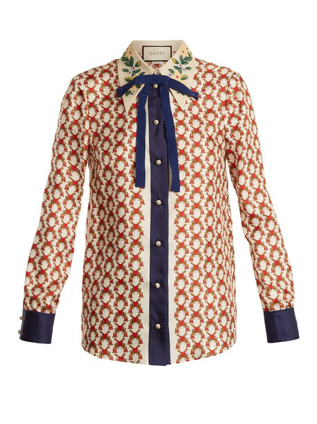 gucci blouse bow embellished print silk white top