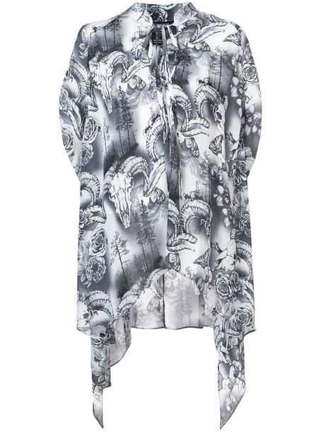 Thomas Wylde blouse skull women silk grey top