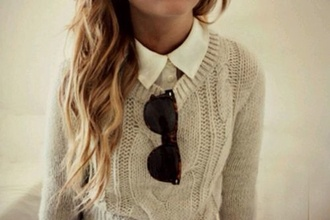 sweater sweater pullover beige shirt white white shirt sunglasses rayban wayfarer cute winter clothes