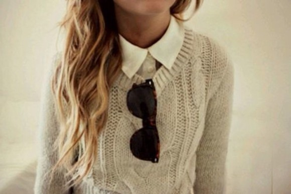 sunglasses wayfarer cute shirt white sweater rayban pullover beige white shirt winter clothes sweater