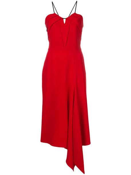 Roland Mouret dress women spandex draped silk red