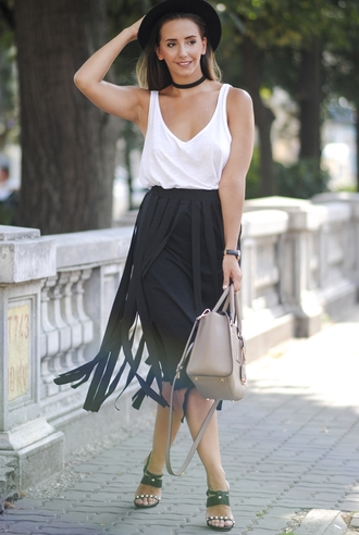 let's talk about fashion ! blogger hat sunglasses shirt skirt shoes bag jewels white top choker necklace black hat black skirt maxi skirt fringes fringe skirt nude bag midi skirt tank top white tank top handbag sandals sandal heels high heel sandals black sandals