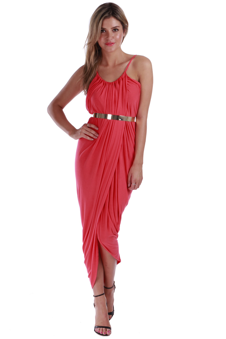 Coral Longer Lengths Dress - Empire Maxi: Coral   UsTrendy