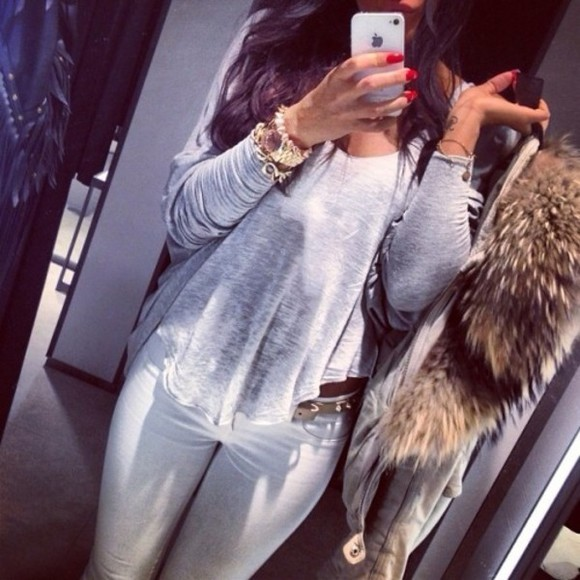 white shirt coat grey t-shirt gold jeans sweater orchid grey beautiful fur keyring gold watch bracelets skinny pants skinny jeans belt iphone cover winter outfits outfit red nails the brunette
