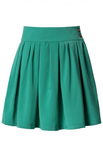 Waist Green Pleated Skater Skirt - Retro, Indie and Unique Fashion