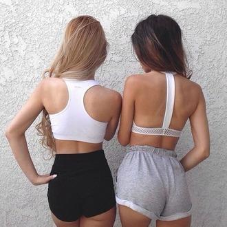 shorts blonde hair blonde gilr brunette shortshorts sportsbra booty shorts booty pretty prettygirl