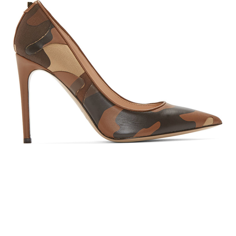 Valentino - Khaki Camo Leather & Textile Stiletto Pumps