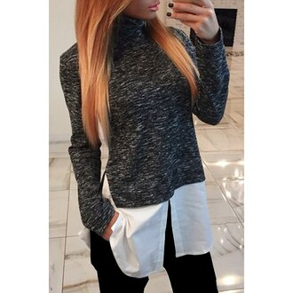 top grey blouse trendy stylish womens's long sleeve turtleneck splicing t-shirt fall outfits long sleeves clothes casual turtleneck warm rose wholesale-dec