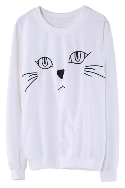 ROMWE | Cat Face Embroidery White Pullover, The Latest Street Fashion