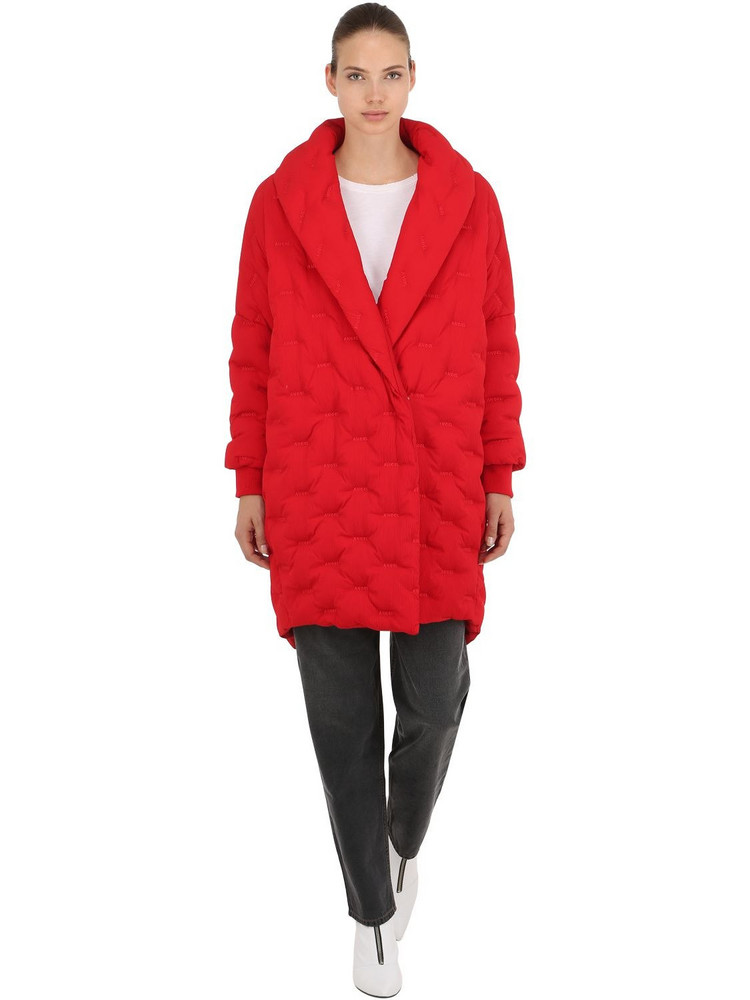 ANGEL CHEN Logo Cocoon Down Coat in red