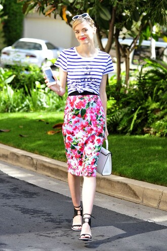 pencil skirt jaime king spring spring outfits sandals floral flowers stripes striped top