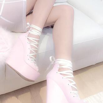 shoes high heels pale baby pink platform shoes lace up