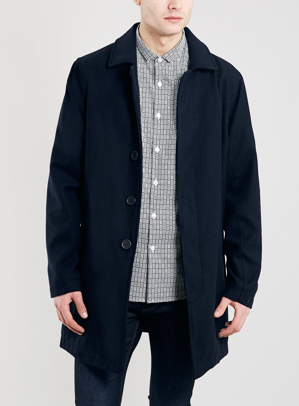 Wool Mix Single Breasted Mac - Wool Coats - Men's Jackets & Coats ...